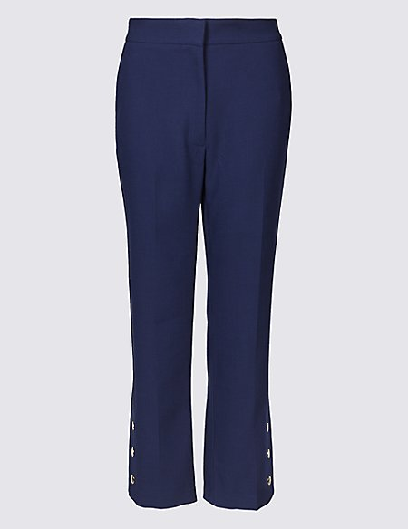 Button Detail Ankle Grazer Straight Trousers navy Marks and Spencer Clearance Outlet Locations Buy Cheap For Cheap Outlet Discount Authentic Outlet Top Quality Clearance Shop qwQoB8t85A