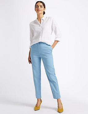 Cotton Blend Trousers, AZURE BLUE, catlanding