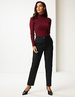 Cotton Blend Trousers, BLACK, catlanding
