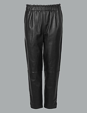 Leather Slim Leg Cigarette Trousers