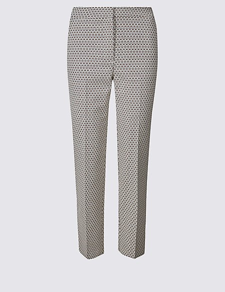Cotton Blend Printed Straight Leg Trousers