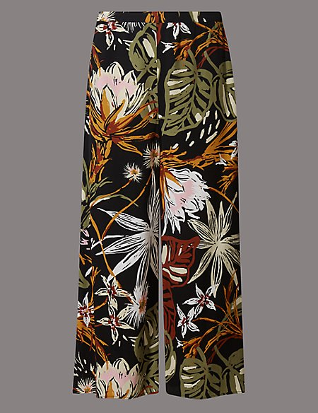 Floral Print Cropped Wide Leg Trousers