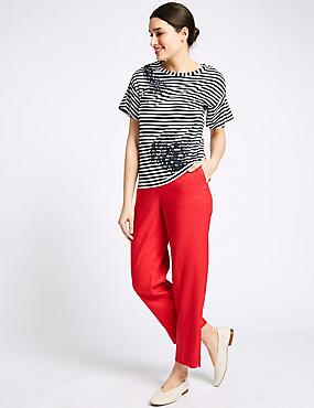 Linen Blend Ankle Grazer Straight Trousers