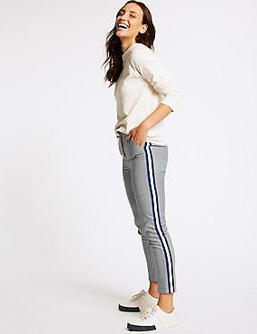 Checked Side Stripe Slim Leg Trousers