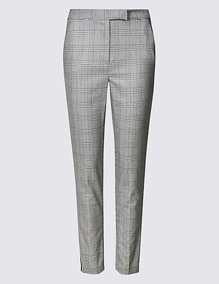 Checked Side Stripe Slim Leg Trousers