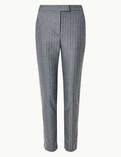 Mia Slim Side Stripe Ankle Grazer Trousers