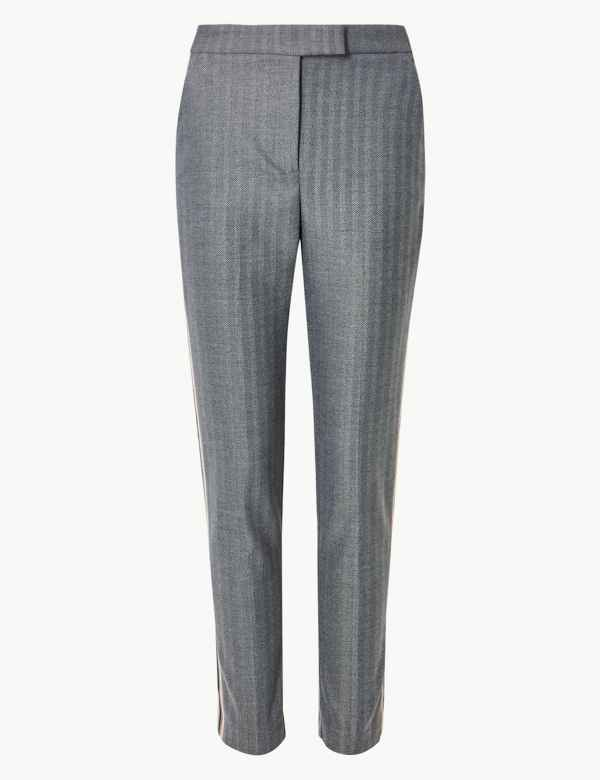 e32353326c9b47 Mia Slim Side Stripe Ankle Grazer Trousers | M&S Collection | M&S