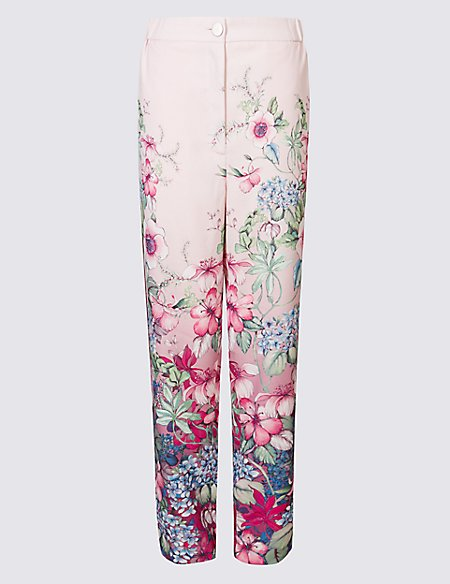 Floral Print Straight Leg Trousers