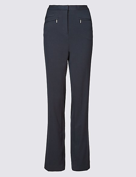 Zipped Pocket Straight Leg Trousers