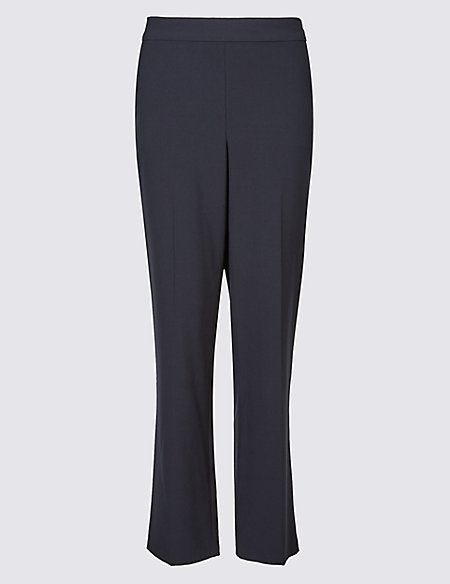 Elastic Back Straight Leg Trousers