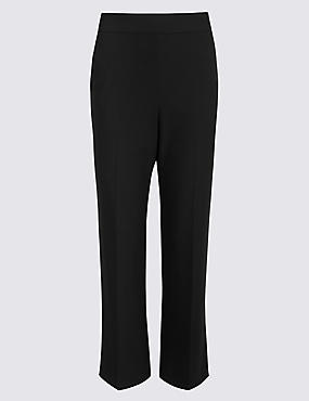 Elastic Back Cropped Straight Leg Trousers