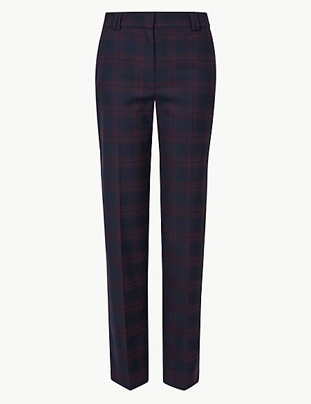 Checked Relaxed Straight Leg Crepe Trousers