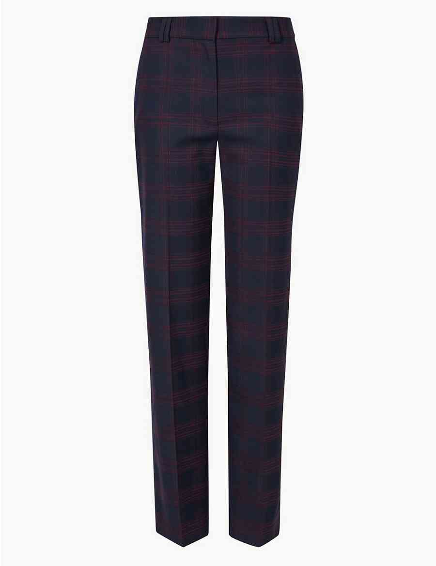 072f6e18991 Checked Relaxed Straight Leg Crepe Trousers
