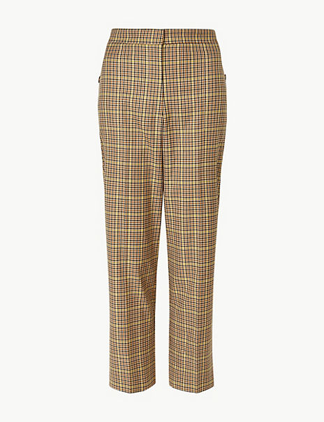 Evie Straight Checked 7/8th Trousers