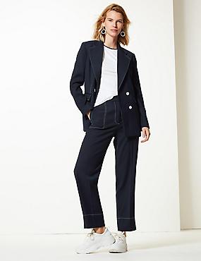 6b40f53ce37 Pantalon nbsp 7 8 coupe droite à coutures contrastées