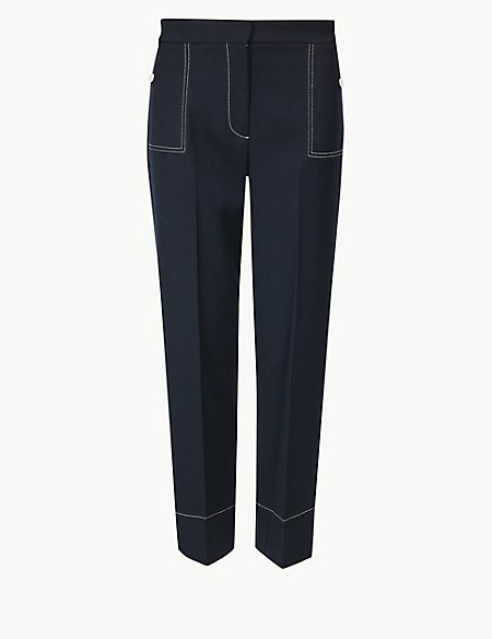 Contrast Stitch Straight 7/8th Leg Trousers