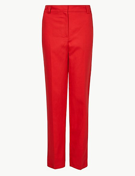 Relaxed Straight Linen Blend Trousers