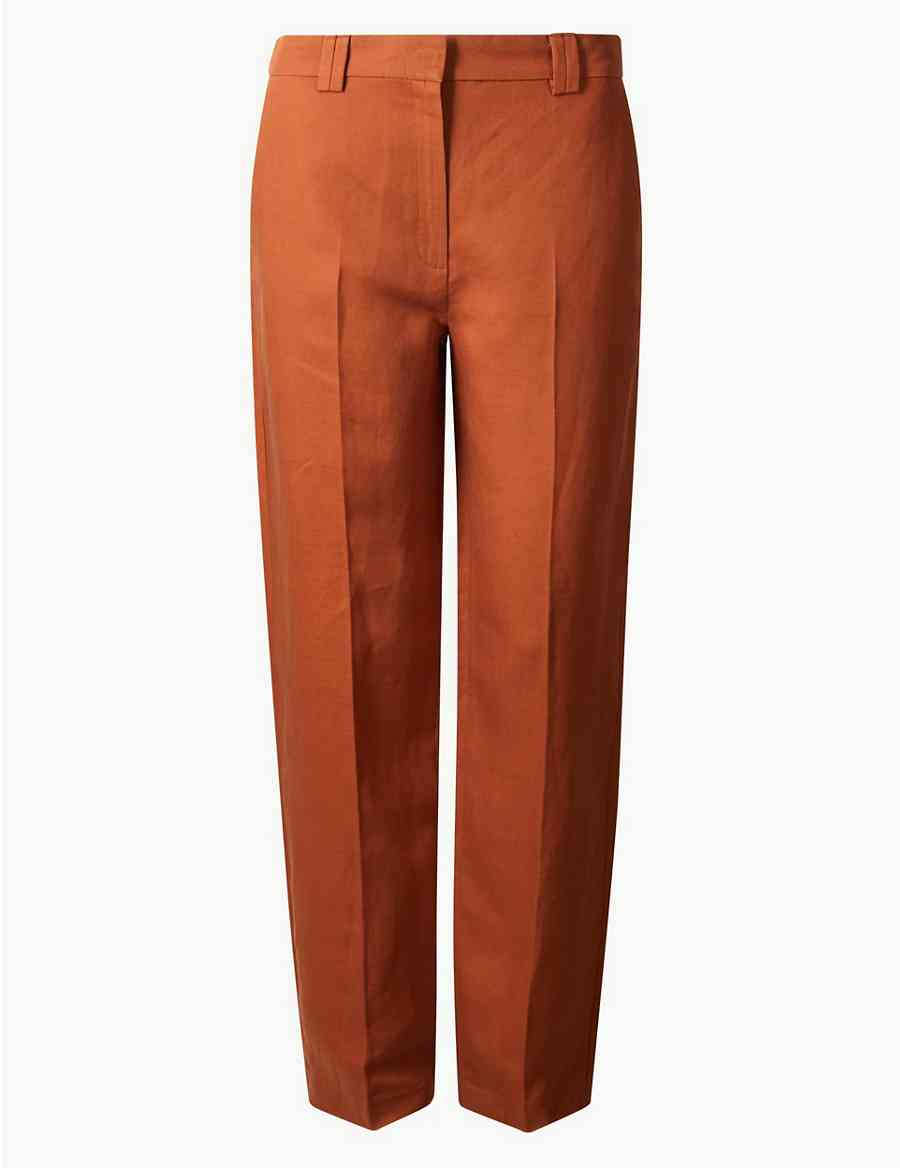 570459d959 Relaxed Straight Linen Blend Trousers