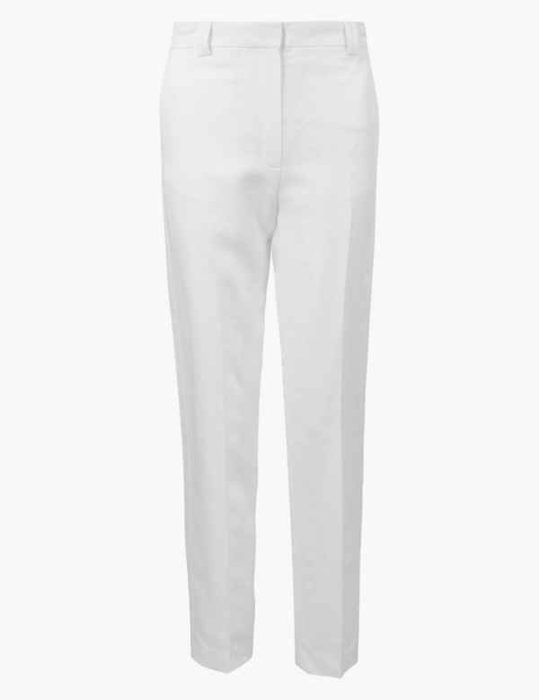 dcf55ad7a7586 Relaxed Straight Linen Blend Trousers