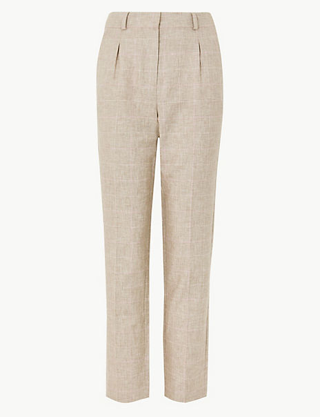Linen Blend Checked Straight Leg Trousers