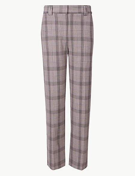 PETITE Checked Relaxed Straight Leg Trousers