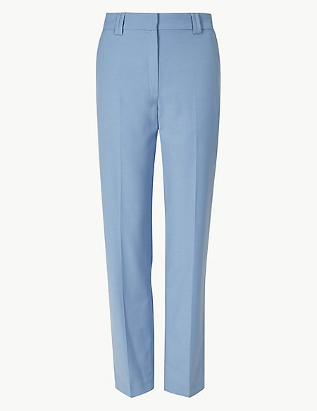 Relaxed Straight Leg Trousers with Wool