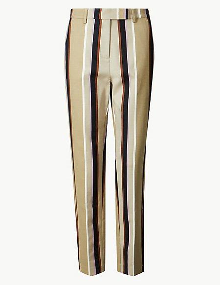 Cotton Rich Striped Slim Leg Trousers