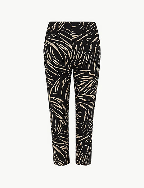 Mia Slim Animal Print Cropped Trousers