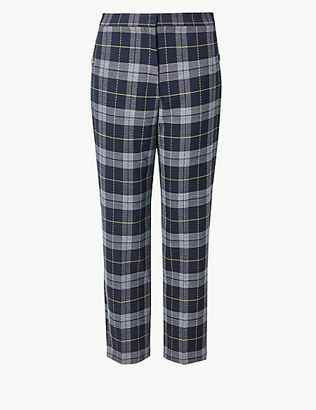 Checked Straight 7/8th Leg Trousers