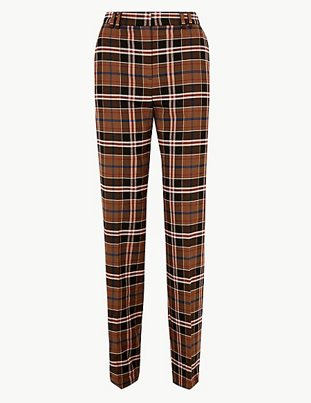Checked Relaxed Straight Leg Trousers