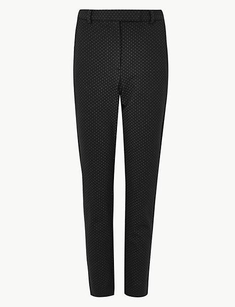 Spot Print Slim Fit 7/8th Trousers