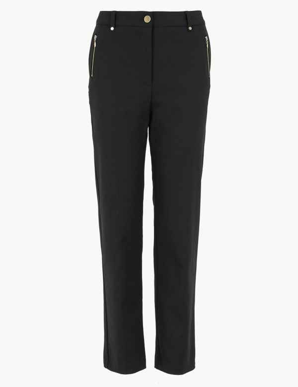 New Womens Marks /& Spencer Per Una Black Crop Trousers Size 16 14