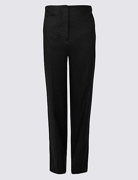 Linen Rich Straight Leg Trousers