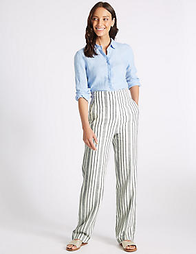 Linen Rich Striped Straight Leg Trousers