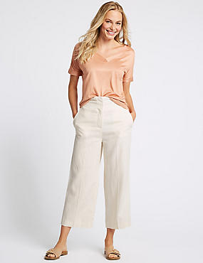 Linen Rich Cropped Straight Leg Trousers