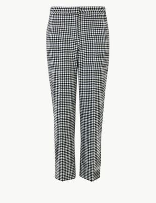 Checked Straight 7/8th Trousers by Marks & Spencer