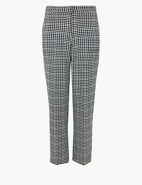 Evie Checked Straight 7/8th Trousers