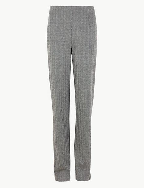 Jersey Herringbone Straight Fit Trousers
