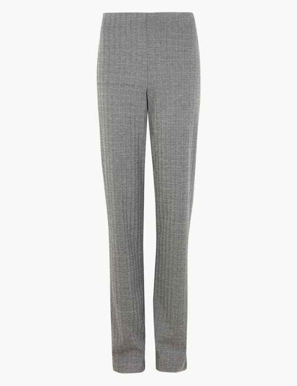 0d07227bc9f Jersey Herringbone Straight Fit Trousers