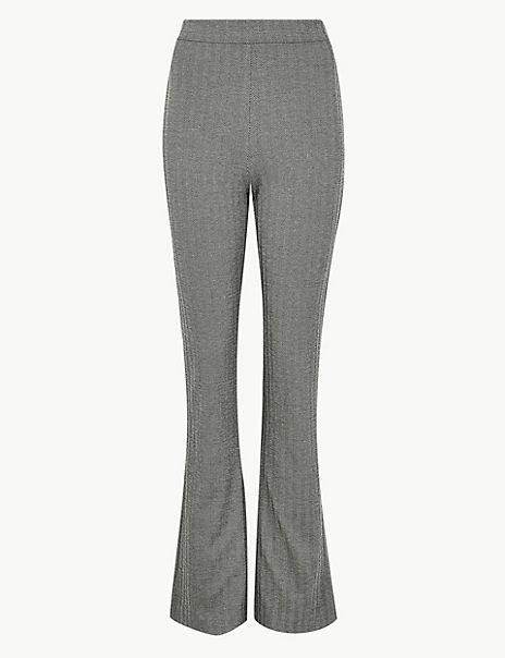 Herringbone Slim Boot Cut Trousers