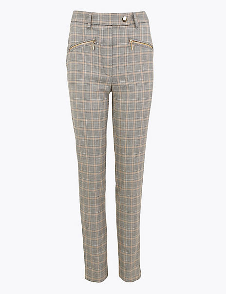 Mia Zip Checked Slim Ankle Grazer Trousers