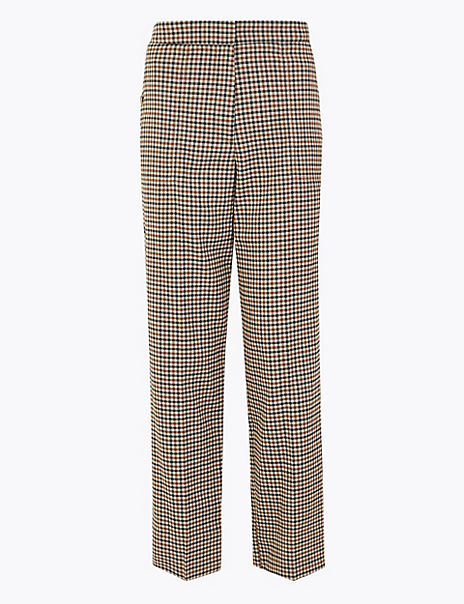 Checked Straight Leg 7/8 Trousers