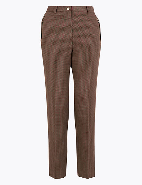 Dogtooth Print Straight Trousers