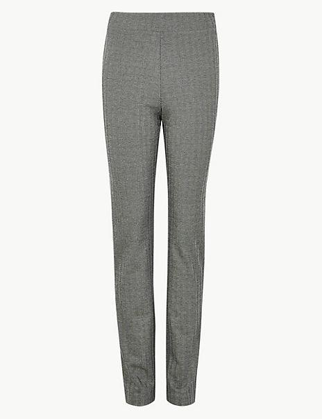 Jersey Herringbone Slim Fit Trousers