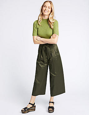 Cotton Blend Cropped Wide Leg Trousers