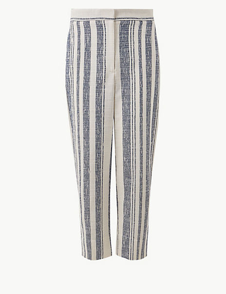 Evie Straight Leg Striped 7/8th Trousers