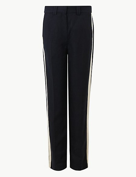 Side Stripe Straight Leg Trousers with Linen
