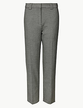 PETITE Checked Straight Leg Trousers