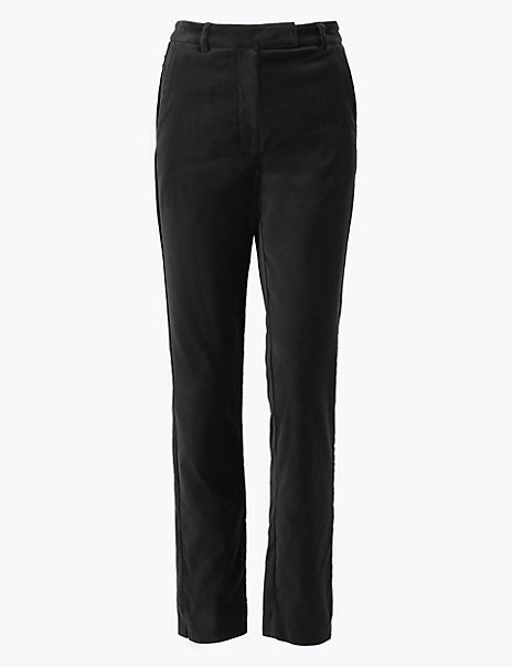 Mia Velvet Slim Ankle Grazer Trousers