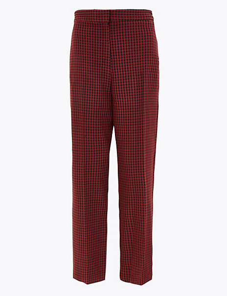 Dogtooth Straight Leg 7/8th Trousers